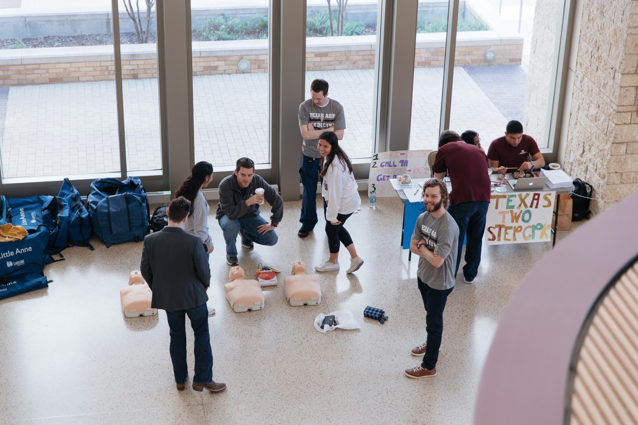 A CPR training station gets underway during the Texas Two Step campaign in February. (Photo by Cody Cobb)