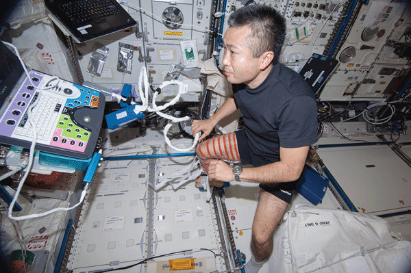 Japanese astronaut Koichi Wakata performs an ultrasound scan using the Human Research Facility (HRF) Ultrasound2 on Expedition 38.