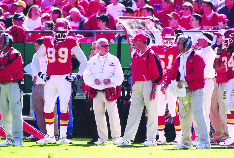 Joe at home on the sidelines of a Kansas City Chiefs game.